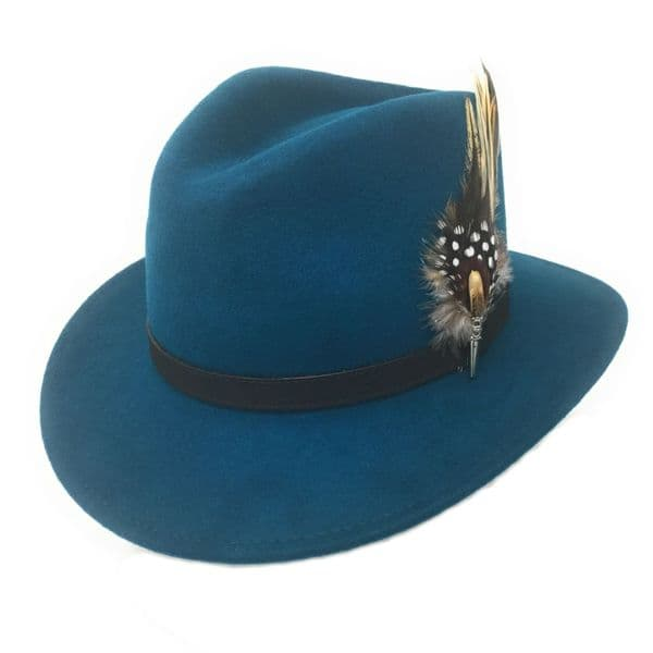 Ladies Teal Fedora Hat with Country Feather Brooch - Broadway